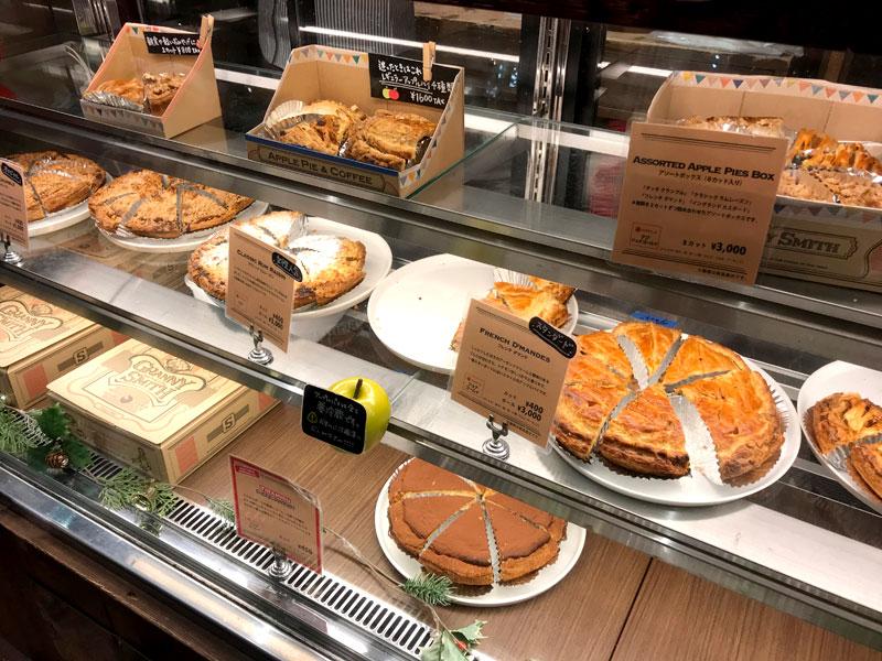 アップルパイの専門店 GRANNY SMITH APPLE PIE & COFFEE 店内ショーケース写真