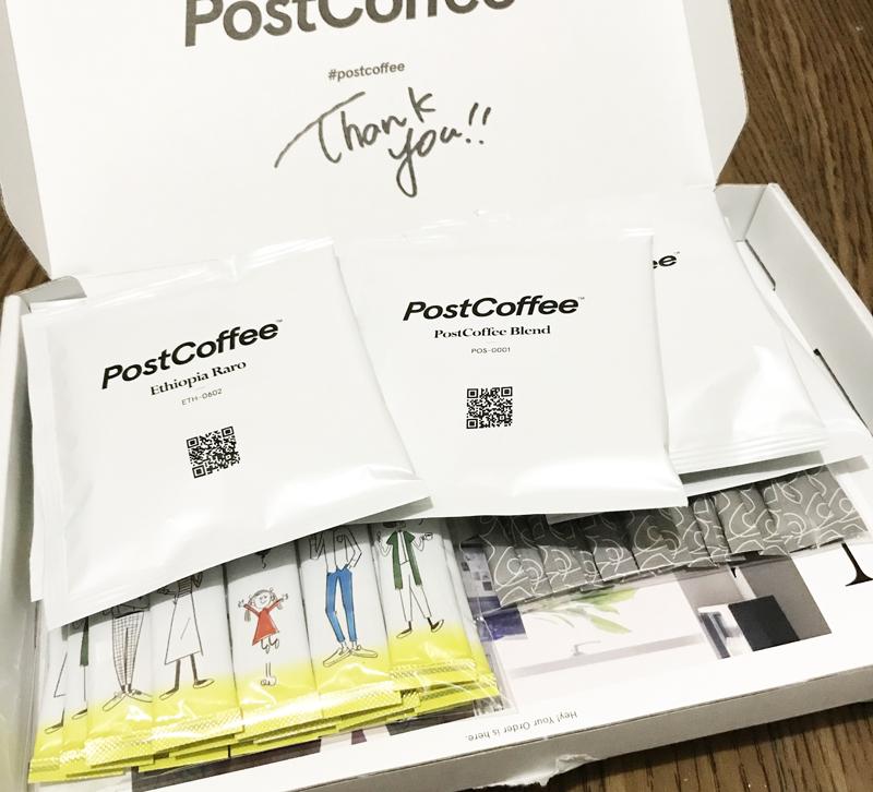 postcoffee箱をあけたところ